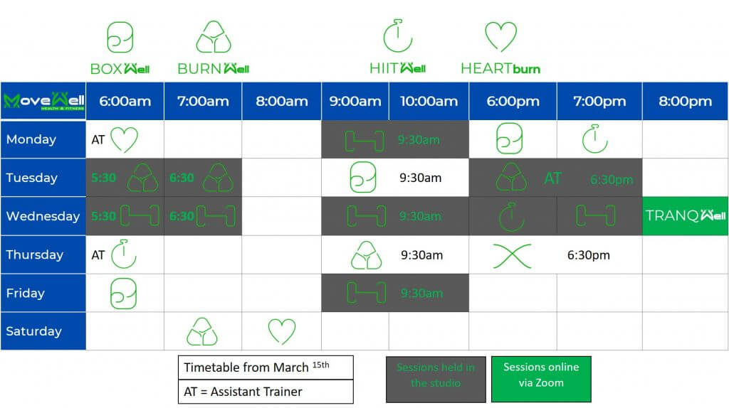 Time Table - MoveWell Health & Fitness